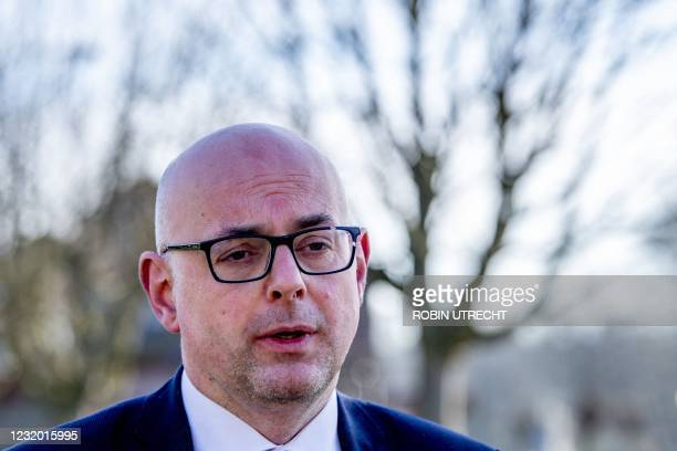 Krimpen mayor Martijn Vroom speaks to the press outside the Mieraskerk , after the church was damaged by a small explosion, on March 30, 2021. -...