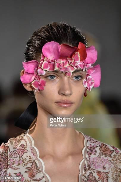 Krini Alejandra, fashion detail, walks the runway during the Giambattista Valli Womenswear Spring/Summer 2020 show as part of Paris Fashion Week on...