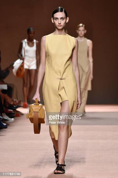 Krini Alejandra walks the runway during the Hermes Womenswear Spring/Summer 2020 show as part of Paris Fashion Week on September 28, 2019 in Paris,...