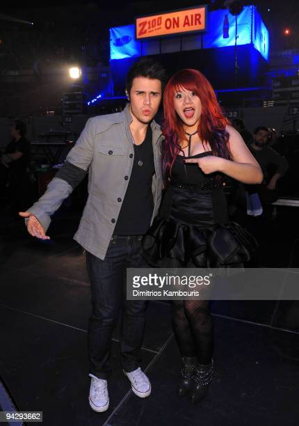 *EXCLUSIVE* Kris Allen and Allison Iraheta attend Z100's Jingle Ball 2009 presented by HM at Madison Square Garden on December 11 2009 in New York...