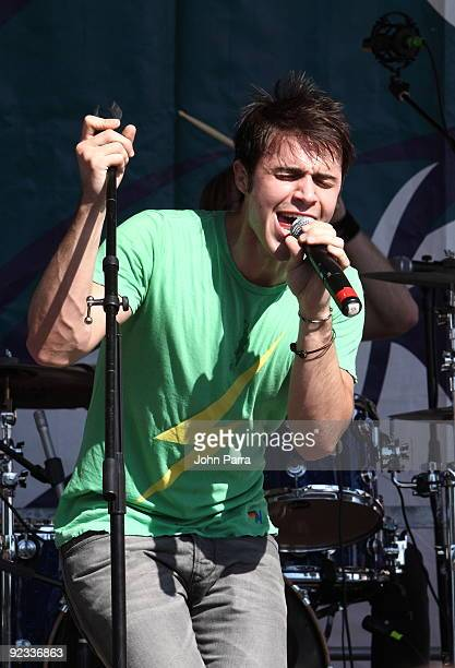 Kris Allen performs at Miami Dolphins game at Landshark Stadium on October 25 2009 in Miami Florida