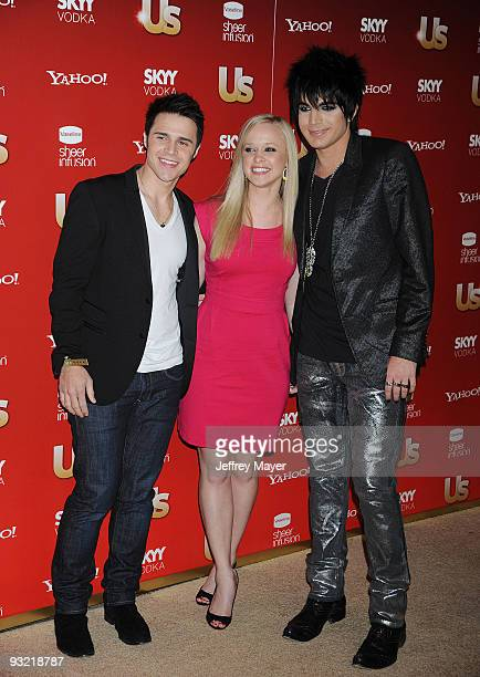 Kris Allen wife Katy O'Connell and Adam Lambert arrive at US Weekly's Hot Hollywood 2009 Voyeur on November 18 2009 in West Hollywood California