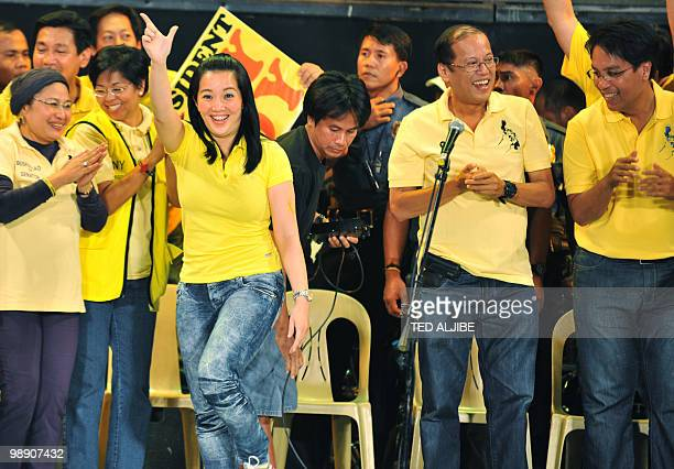Kris Aquino popular TV host and sister of Liberal party presidential candidate Benigno Aquino flashes the Laban sign during the Miting de Avance of...