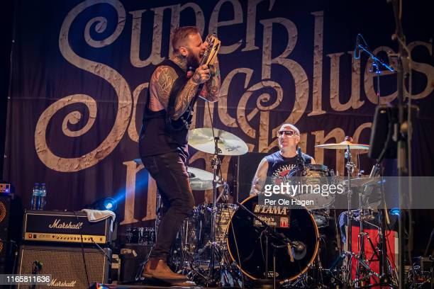 Kris Barras and Kevin Aronoff with The Supersonic Blues Machine perform on stage at The Notodden Blues Festival on August 2 2019 in Notodden Norway