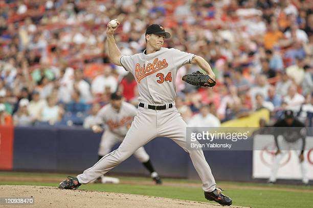 Kris Benson of the Baltimore Orioles in action during MLB regular season game against the New York Mets played at Shea Stadium in Queens NY on June...