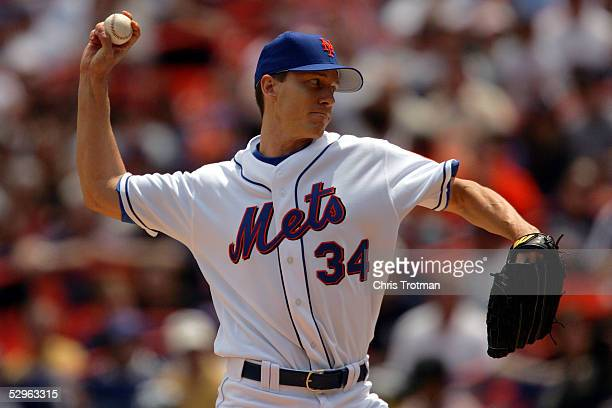 Kris Benson of the New York Mets pitches against the New York Yankees in the first inning on May 21 2005 at Shea Stadium in the Flushing neighborhood...