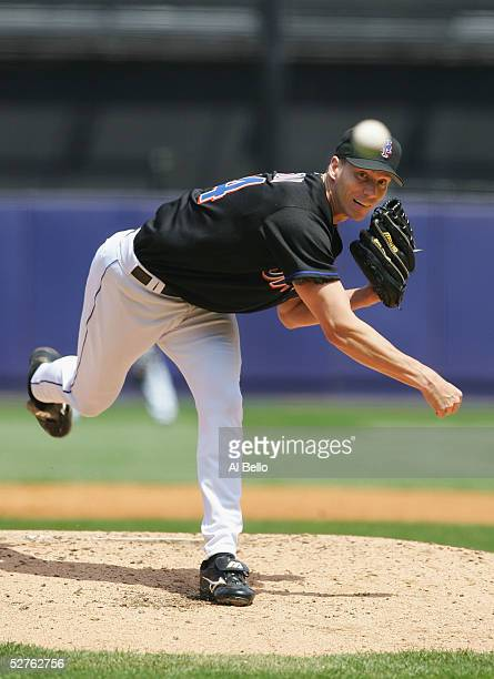 Kris Benson of the New York Mets pitches against the Philadelphia Phillies during their game on May 5 2005 at Shea Stadium in Flushing New York