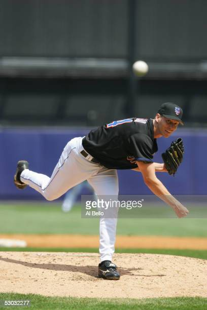 Kris Benson of the New York Mets pitches against the Philadelphia Phillies during their game on May 5 2005 at Shea Stadium in Flushing New York The...