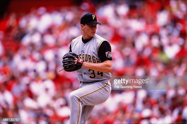Kris Benson of the Pittsburgh Pirates pitches against the St Louis Cardinals during a game at Busch Stadium on June 2 2002 in St Louis Missouri The...