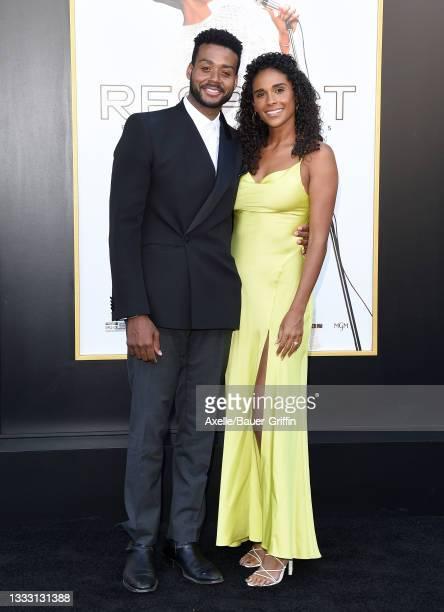 """Kris Bowers and Briana Nicole Henry attend the Los Angeles Premiere of MGM's """"Respect"""" at Regency Village Theatre on August 08, 2021 in Los Angeles,..."""