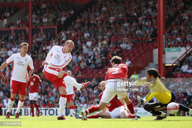 Kris Boyd of Forest scores his side's first goal during the npower Championship game between Bristol City and Nottingham Forest, at Ashton Gate on...