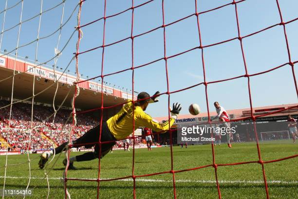 Kris Boyd of Forest scores his side's second goal from a penalty during the npower Championship game between Bristol City and Nottingham Forest, at...