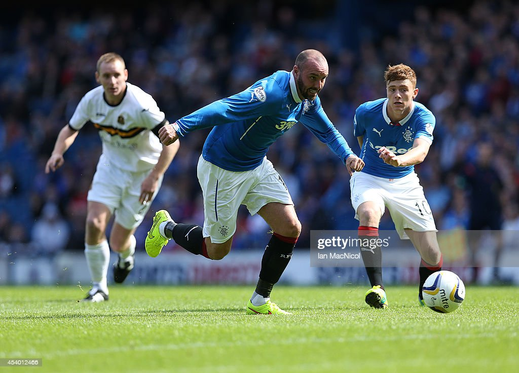 Kris Boyd of Rangers chases the ball during the Scottish Championship League Match between Rangers and Dumbarton, at Ibrox Stadium on August 23, 2014 Glasgow, Scotland.