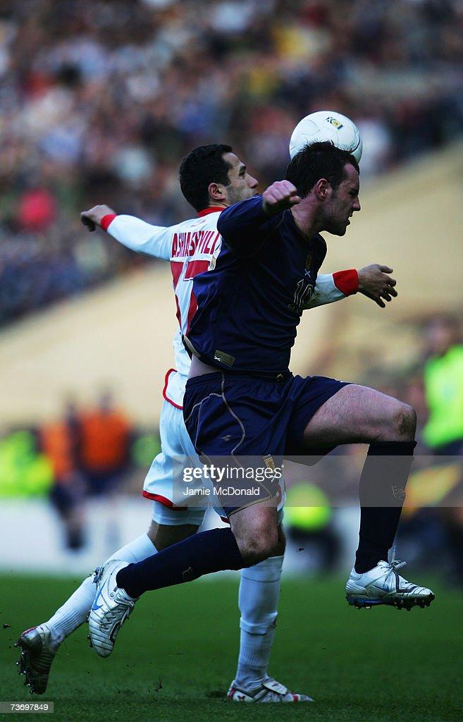 Kris Boyd of Scotland battles with George Shashiashvili of Georgia during the Euro2008, Group B, qualifier between Scotland and Georgia on March 24, 2007 at Hampden Park, Glasgow, Scotland.