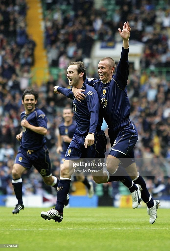 Kris Boyd of Scotland celebrates his goal with Kenny Miller during the Euro 2008 Qualifying Group B match between Scotland and Faroe Islands at Celtic Park on September 2, 2006 in Glasgow, Scotland