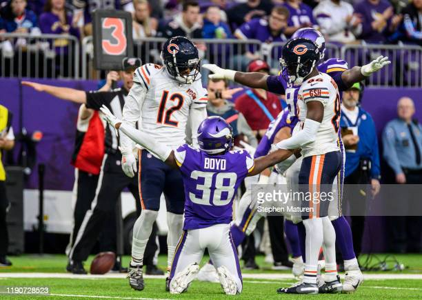 Kris Boyd of the Minnesota Vikings reacts after breaking up a third down pass in the second quarter of the game against the Chicago Bears at U.S....
