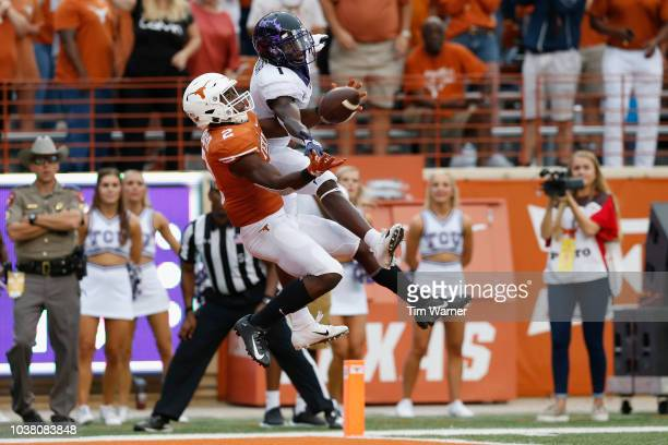Kris Boyd of the Texas Longhorns breaks up a pass in the endzone intended for Jalen Reagor of the TCU Horned Frogs in the second half at Darrell K...