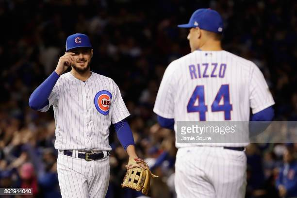 Kris Bryant and Anthony Rizzo of the Chicago Cubs celebrate after beating the Los Angeles Dodgers 32 in game four of the National League Championship...