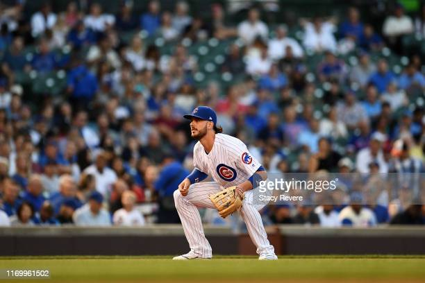 Kris Bryant of the Chicago Cubs anticipates a pitch during a game against the San Francisco Giants at Wrigley Field on August 20, 2019 in Chicago,...