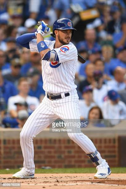 Kris Bryant of the Chicago Cubs at bat against the Washington Nationals during game three of the National League Divisional Series at Wrigley Field...