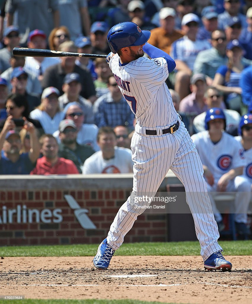 Kris Bryant #17 of the Chicago Cubs bats against the San Diego Padres at Wrigley Field on April 17, 2015 in Chicago, Illinois. The Padres defeated the Cubs 5-4.
