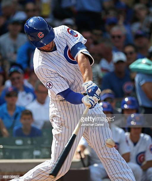 Kris Bryant of the Chicago Cubs bats against the San Francisco Giants at Wrigley Field on August 7 2015 in Chicago Illinois