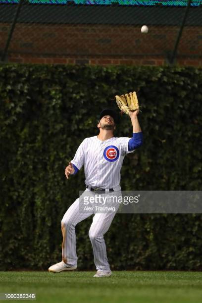 Kris Bryant of the Chicago Cubs catches a fly ball during the National League Wild Card game against the Colorado Rockies at Wrigley Field on Tuesday...