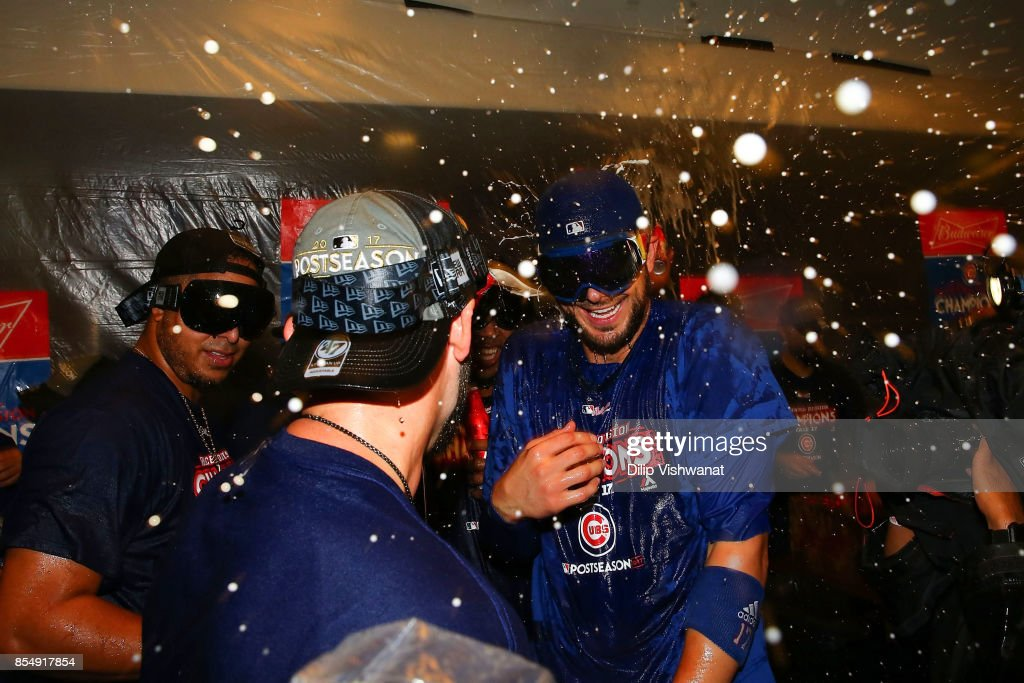 Kris Bryant #17 of the Chicago Cubs celebrates after winning the National Central Title against the St. Louis Cardinals at Busch Stadium on September 27, 2017 in St. Louis, Missouri.