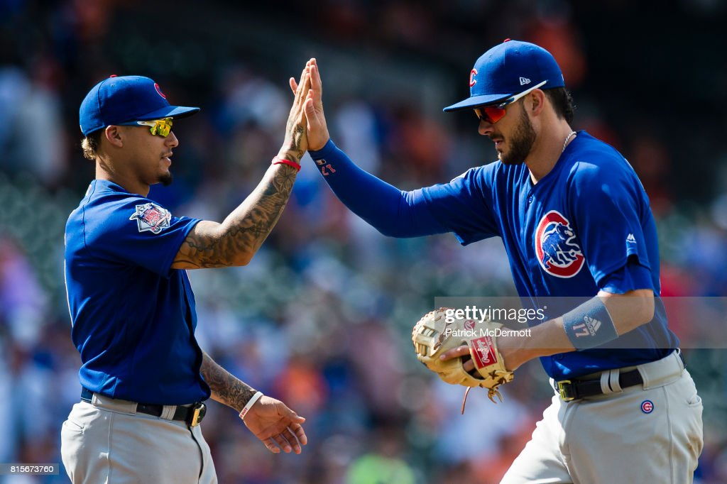 Kris Bryant #17 of the Chicago Cubs celebrates with teammate Javier Baez #9 after the Cubs defeated the Baltimore Orioles 8-0 during a game at Oriole Park at Camden Yards on July 16, 2017 in Baltimore, Maryland.