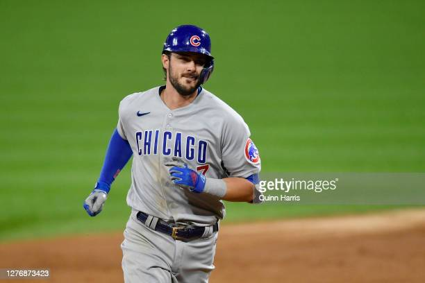 Kris Bryant of the Chicago Cubs hits a grand slam home run in the third inning against the Chicago White Sox at Guaranteed Rate Field on September...