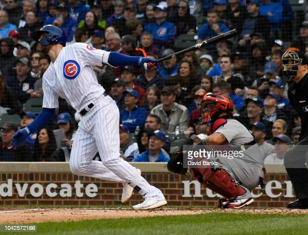 Kris Bryant of the Chicago Cubs hits a home run against the St Louis Cardinals during the fourth inning on September 28 2018 at Wrigley Field in...