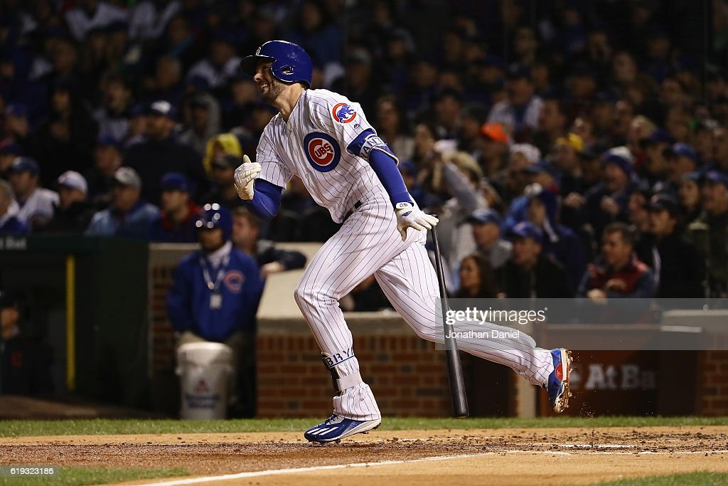 Kris Bryant #17 of the Chicago Cubs hits a home run in the fourth inning against the Cleveland Indians in Game Five of the 2016 World Series at Wrigley Field on October 30, 2016 in Chicago, Illinois.