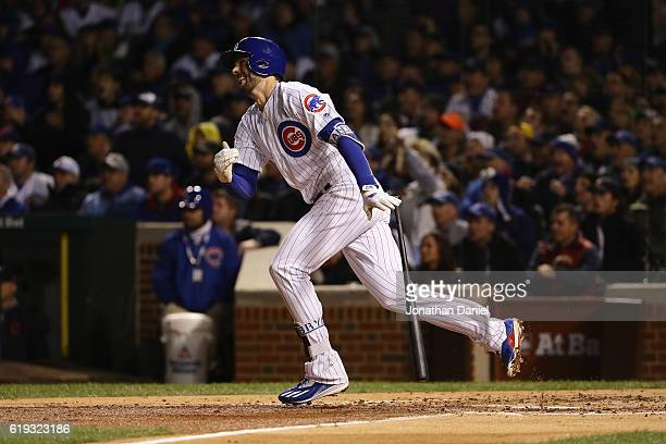 Kris Bryant of the Chicago Cubs hits a home run in the fourth inning against the Cleveland Indians in Game Five of the 2016 World Series at Wrigley...