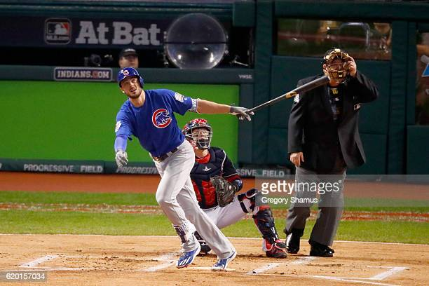 Kris Bryant of the Chicago Cubs hits a solo home run during the first inning against Josh Tomlin of the Cleveland Indians in Game Six of the 2016...