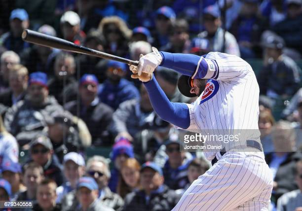 Kris Bryant of the Chicago Cubs hits a solo home run in the 1st inning against the New York Yankees at Wrigley Field on May 5 2017 in Chicago Illinois