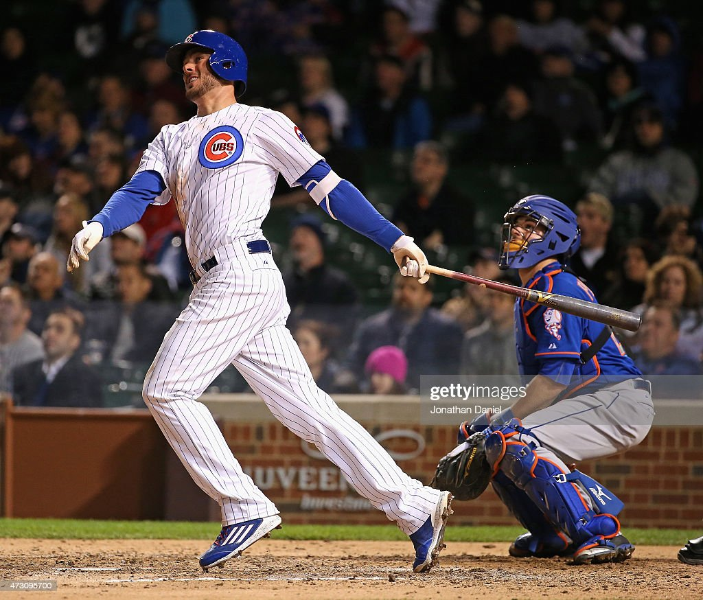 Kris Bryant #17 of the Chicago Cubs hits a solo home run in the 8th inning against the New York Mets at Wrigley Field on May 12, 2015 in Chicago, Illinois. The Cubs defeated the Mets 6-1.