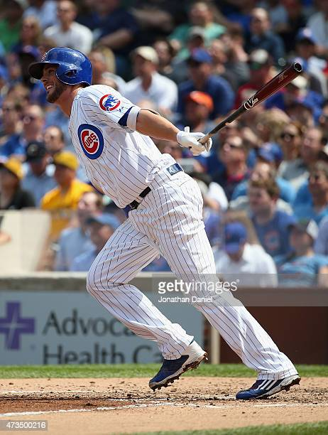 Kris Bryant of the Chicago Cubs hits a threerun home run in the 3rd inning against the Pittsburgh Pirates at Wrigley Field on May 15 2015 in Chicago...