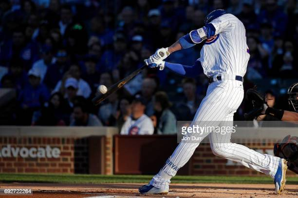 Kris Bryant of the Chicago Cubs hits a two run home run against the Miami Marlins during the first inning at Wrigley Field on June 5 2017 in Chicago...