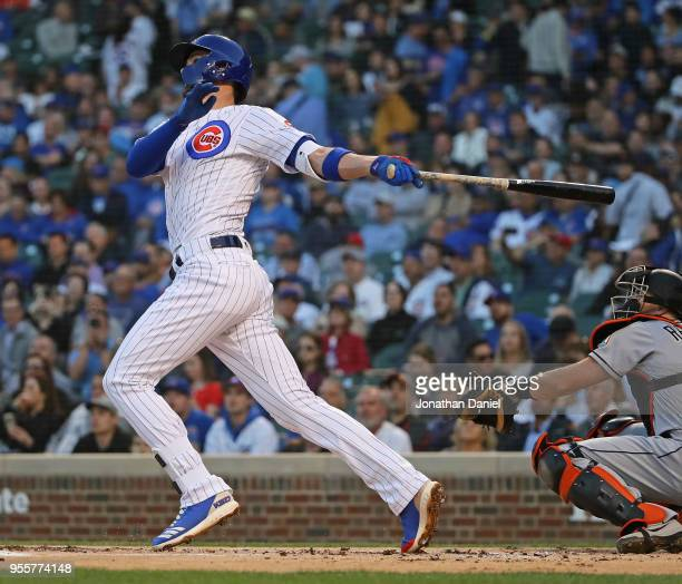 Kris Bryant of the Chicago Cubs hits a two run home run in the 1st inning against the Miami Marlins at Wrigley Field on May 7 2018 in Chicago Illinois