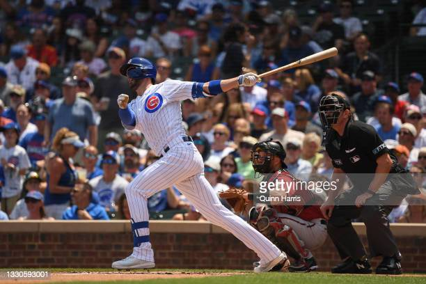 Kris Bryant of the Chicago Cubs hits a two-run home run against the Arizona Diamondbacks at Wrigley Field on July 25, 2021 in Chicago, Illinois.