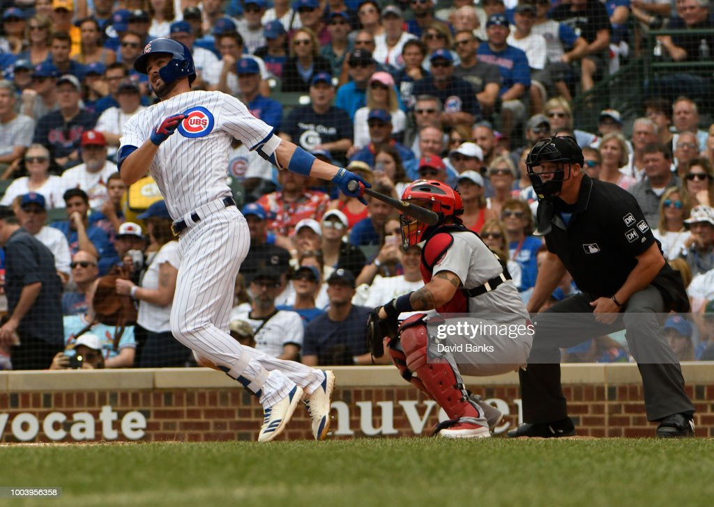 Kris Bryant #17 of the Chicago Cubs hits an RBI single against the St. Louis Cardinals during the seventh inning on July 22, 2018 at Wrigley Field in Chicago, Illinois.