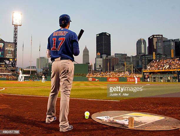 Kris Bryant of the Chicago Cubs in action during the game against the Pittsburgh Pirates at PNC Park on September 16 2015 in Pittsburgh Pennsylvania