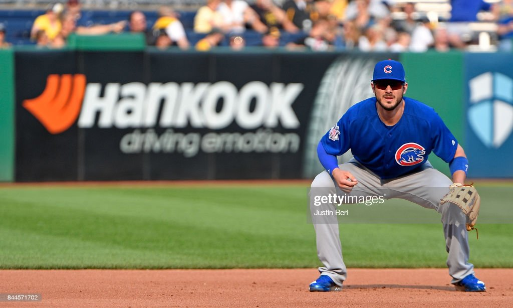 Kris Bryant #17 of the Chicago Cubs in action during the game against the Pittsburgh Pirates at PNC Park on September 4, 2017 in Pittsburgh, Pennsylvania.