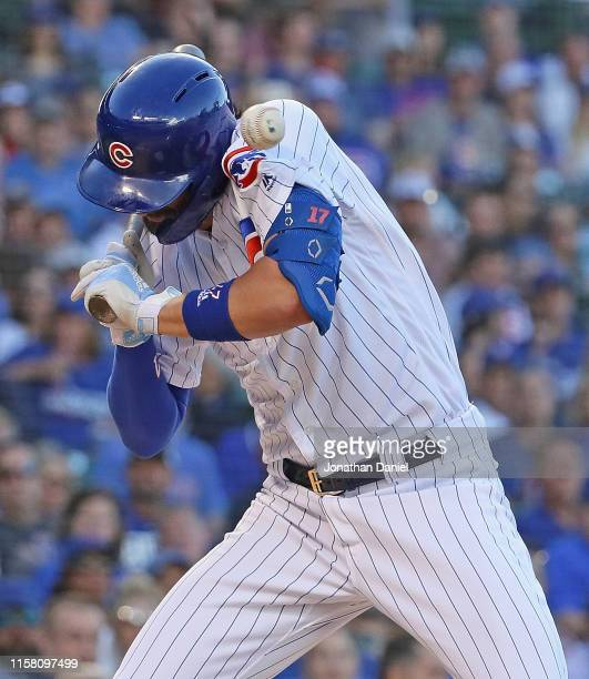 Kris Bryant of the Chicago Cubs is hit by a pitch in the 1st inning against the Atlanta Braves at Wrigley Field on June 24 2019 in Chicago Illinois