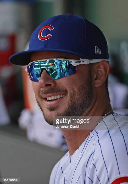Kris Bryant of the Chicago Cubs is seen in the dugout before a game against the Colorado Rockies at Wrigley Field on May 2 2018 in Chicago Illinois...