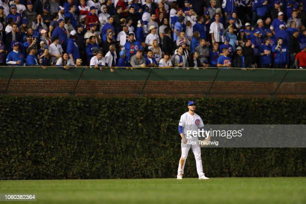 Kris Bryant of the Chicago Cubs looks no during the National League Wild Card game against the Colorado Rockies at Wrigley Field on Tuesday October 2...