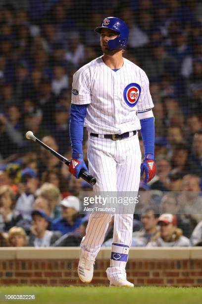 Kris Bryant of the Chicago Cubs looks on during the National League Wild Card game against the Colorado Rockies at Wrigley Field on Tuesday October 2...
