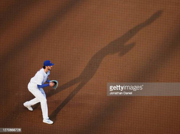 Kris Bryant of the Chicago Cubs mans his position during a game against the St. Louis Cardinals at Wrigley Field on September 05, 2020 in Chicago,...