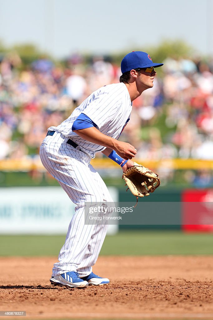 Kris Bryant #77 of the Chicago Cubs plays third base against the Cleveland Indians during a spring training baseball game at Cubs Park on March 7, 2014 in Mesa, Arizona.