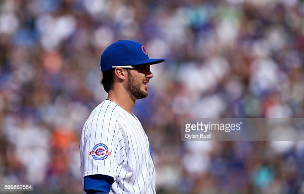 Kris Bryant of the Chicago Cubs plays third base in the eighth inning against the San Francisco Giants at Wrigley Field on September 4 2016 in...